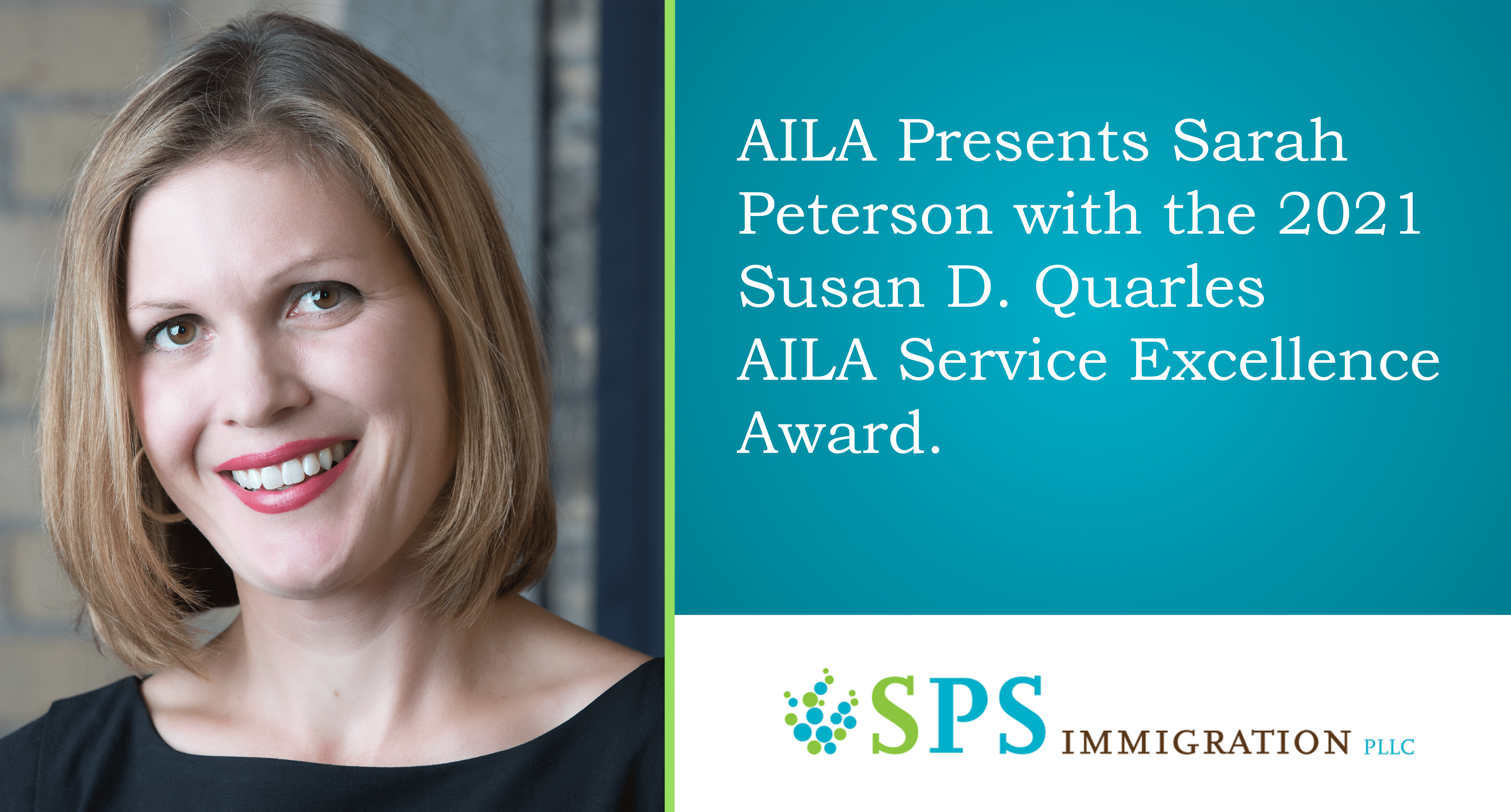 Sarah Peterson is awarded the Susan D. Quarles AILA Service Excellence Award